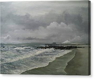 Canvas Print featuring the painting Grey Day At Ocean Grove by Ken Ahlering