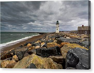 Grey Day At Scituate Lighthouse Canvas Print by Brian MacLean