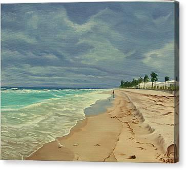 Grey Day On The Beach Canvas Print by Lea Novak