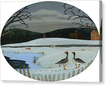 Grey Geese, Straight Up With Ice On The Side Canvas Print by RJ Houghton