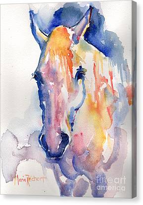 Grey Horse Watercolor Be Uncommon Canvas Print by Maria's Watercolor
