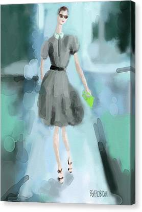 Grey Jason Wu Grey Dress Fashion Illustration Canvas Print