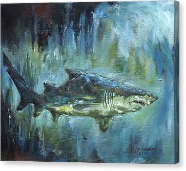 Grey Nurse Shark Canvas Print by Grant Lounsbury
