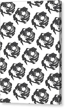 Pattern Canvas Print - Grey Roses by Cortney Herron