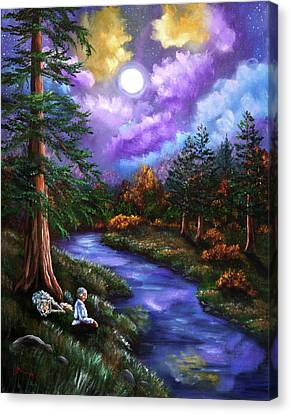 Grey Wolf Warrior Meditation Canvas Print by Laura Iverson