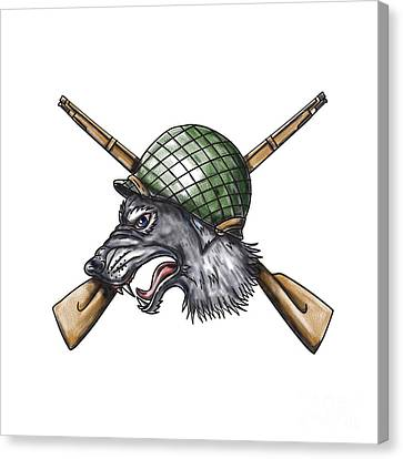 Grey Wolf Ww2 Helmet Crossed Rifles Tattoo Canvas Print