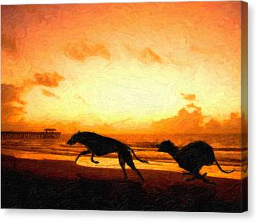 Greyhounds On Beach Canvas Print by Michael Tompsett