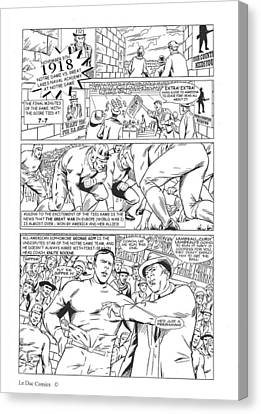 Gridiron One Page One Black And White Canvas Print by Greg Le Duc Ron Randall