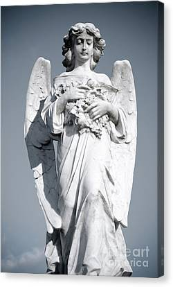 Canvas Print featuring the sculpture Grieving Angel On The Old Graveyard by Yurix Sardinelly