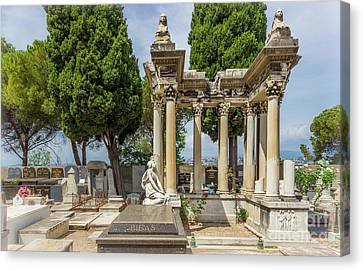 Rememberance Canvas Print - Grieving Statue And Columns In Castle Hill Cemetery, Nice France by Liesl Walsh