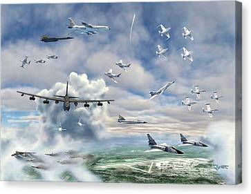 Canvas Print featuring the painting Griffiss Air Force Base by Dave Luebbert