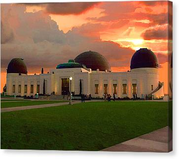 Canvas Print featuring the digital art Griffith Park Observatory by Timothy Bulone