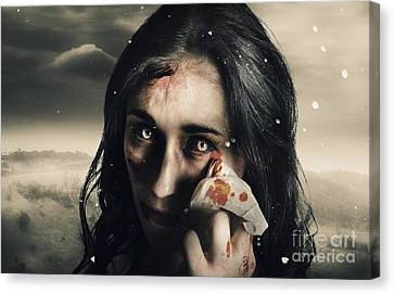 Grim Face Of Horror Crying Tears Of Blood Canvas Print by Jorgo Photography - Wall Art Gallery