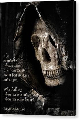 Grim Reaper And Edgar Allan Poe Canvas Print