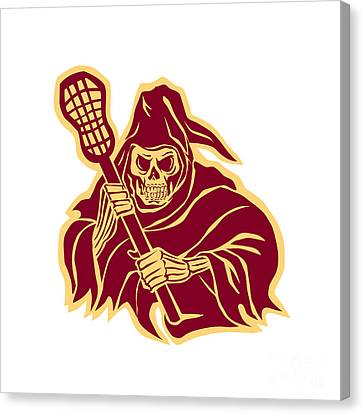 Grim Reaper Lacrosse Defense Pole Retro Canvas Print
