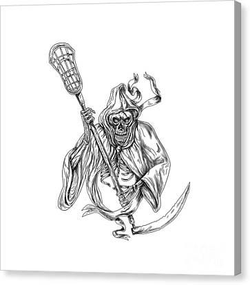 Grim Reaper Lacrosse Defense Pole Tattoo Canvas Print by Aloysius Patrimonio
