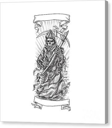 Grim Reaper Scythe Ribbon Tattoo Canvas Print by Aloysius Patrimonio