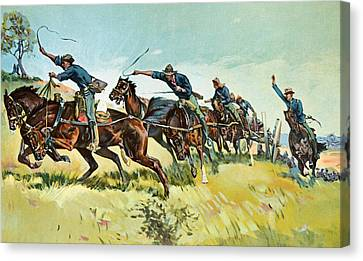 Remington Canvas Print - Grimes's Battery Going Up El Pozo Hill by Frederic Remington