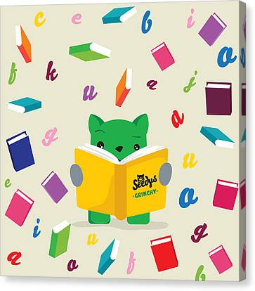 Grinchy And Books Canvas Print by Seedys