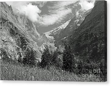Grindelwald Glacier In Switzerland In Black And White Canvas Print