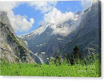 Grindelwald Glacier In Switzerland Canvas Print by Pixelshoot Photography
