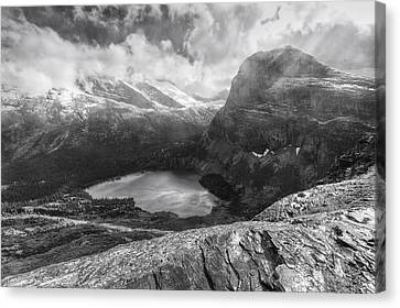 Grinnell Lake Overlook Black And White Canvas Print by Mark Kiver