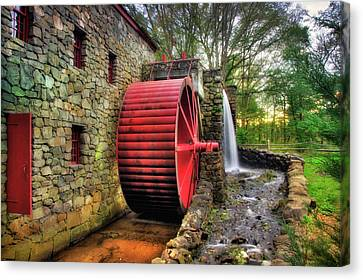 Wayside Inn Grist Mill Canvas Print - Grist Mill In Autumn by Joann Vitali