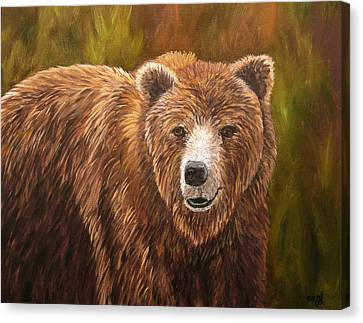 Grizzley Canvas Print by Mary Jo Zorad