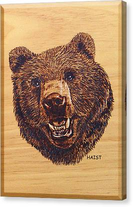 Canvas Print featuring the pyrography Grizzly 5 by Ron Haist