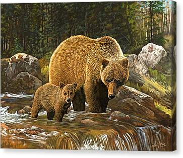 Grizzly Bear And Cub Canvas Print by Robert May