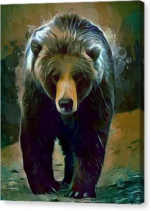 Grizzly Bear Strolls Painting  Canvas Print by Scott Wallace
