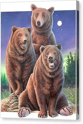 Grizzly Bears In Starry Night Canvas Print