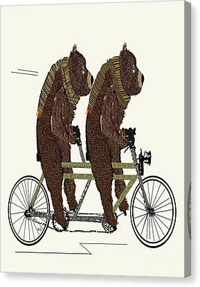 Canvas Print featuring the painting Grizzly Bears Lets Tandem by Bri B