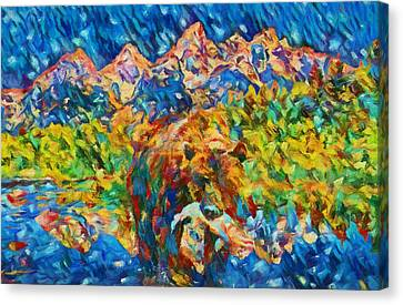 Canvas Print featuring the painting Grizzly Catch In The Tetons by Dan Sproul