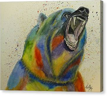 Grizzly Of Many Colors Canvas Print by Kelly Mills