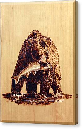 Canvas Print featuring the pyrography Grizzly by Ron Haist