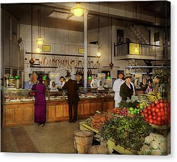 Canvas Print - Grocery - Butcher - Sale On Pork Today 1920 by Mike Savad