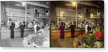 Canvas Print - Grocery - Butcher - Sale On Pork Today 1920 - Side By Side by Mike Savad