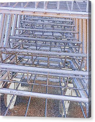 Canvas Print featuring the digital art Grocery Carts 1 by Kae Cheatham