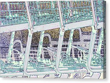 Canvas Print featuring the digital art Grocery Carts 2 by Kae Cheatham