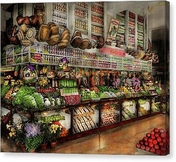 Grocery - Edward Neumann - The Produce Section 1905 Canvas Print by Mike Savad