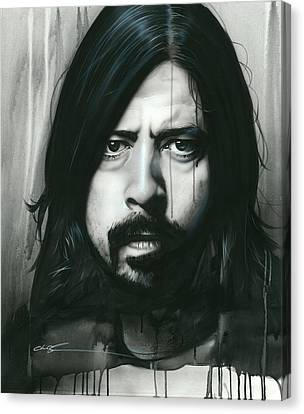 Dave Grohl - ' Grohl In Black ' Canvas Print