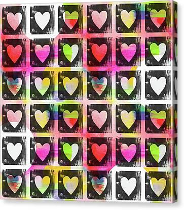 Love Canvas Print - Groovy Hearts- Art By Linda Woods by Linda Woods