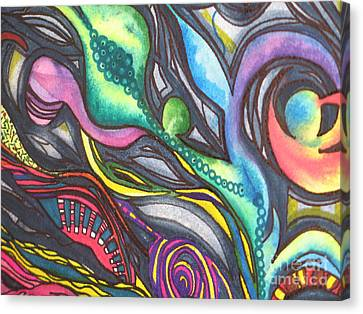 Canvas Print featuring the painting Groovy Series Titled My Hippy Days  by Chrisann Ellis