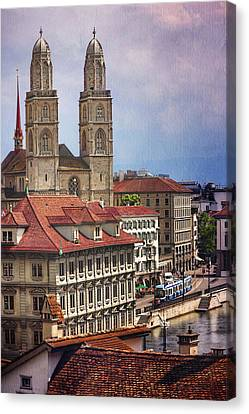 Europe Canvas Print - Grossmunster In Zurich by Carol Japp