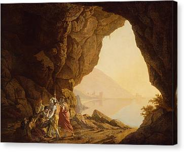 Grotto By The Seaside In The Kingdom Of Naples With Banditti, Sunset  Canvas Print by Joseph Wright
