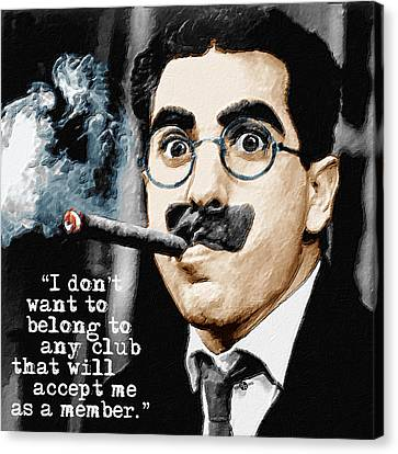Groucho Marx And Quote Square  Canvas Print by Tony Rubino