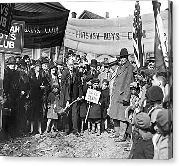 Cropsey Canvas Print - Groundbreaking Ceremony by Underwood Archives