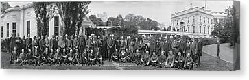 Group Including Einstein And Harding 1921 Washington Dc Canvas Print by Panoramic Images