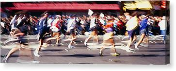 Group Of People Running, Marathon, New Canvas Print by Panoramic Images